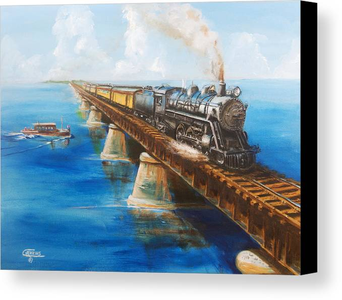 Florida Canvas Print featuring the painting Seven Mile Bridge by Christopher Jenkins