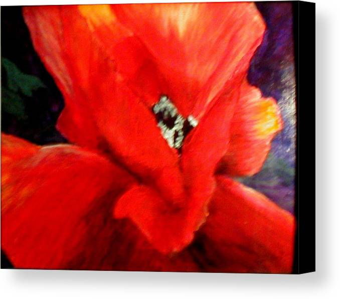 Floral Canvas Print featuring the painting She Wore Red Ruffles by Gail Kirtz