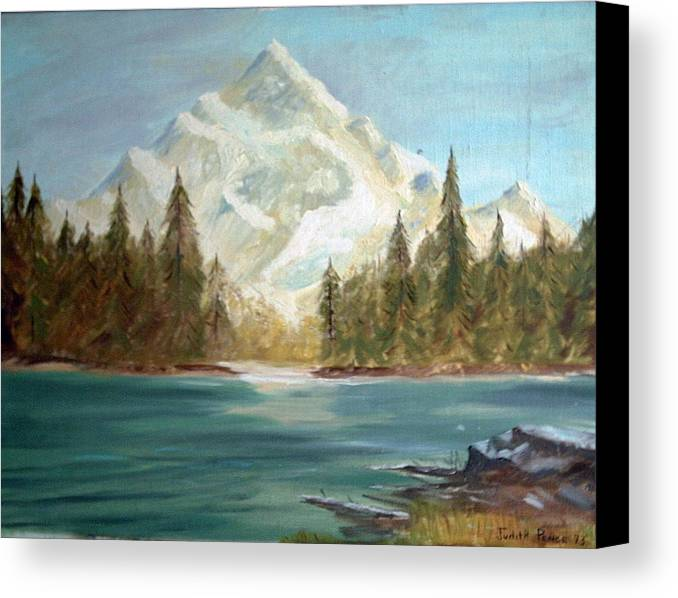 Mountain Canvas Print featuring the painting Snow Covered Mountain by Judi Pence