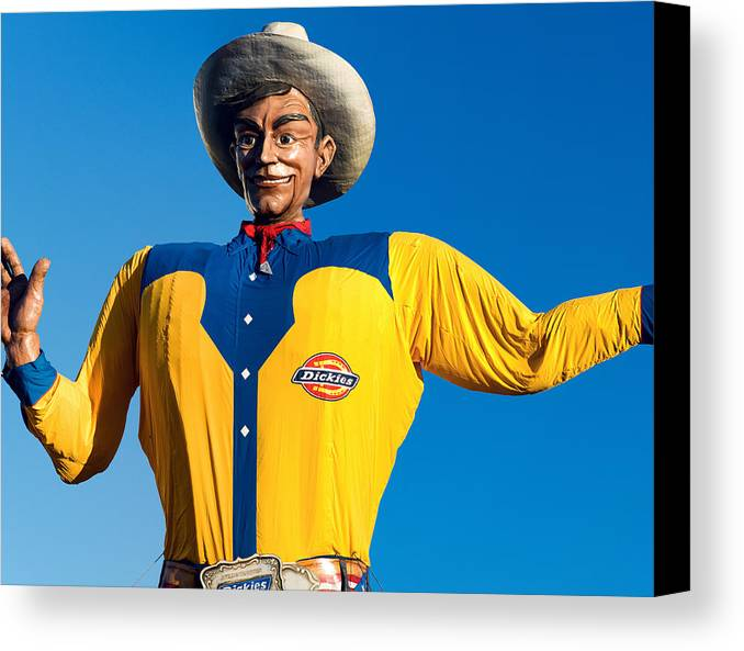 State Fair Of Texas Canvas Print featuring the photograph State Fair Of Texas Big Tex Yellow by Rospotte Photography