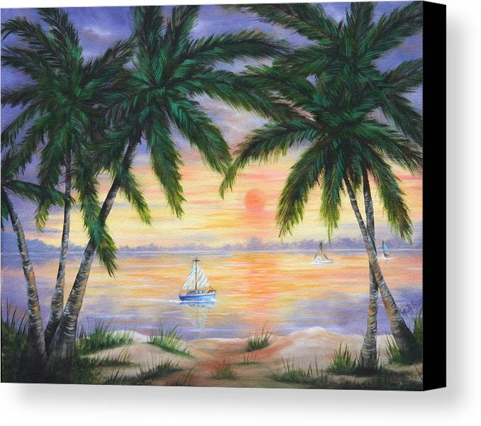 Seascape Canvas Print featuring the painting Summer Sunset by Ruth Bares