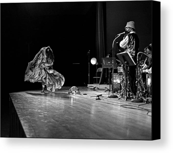 Sun Ra Arkestra At Freeborn Hall Canvas Print featuring the photograph Sun Ra Dancer And Marshall Allen by Lee Santa