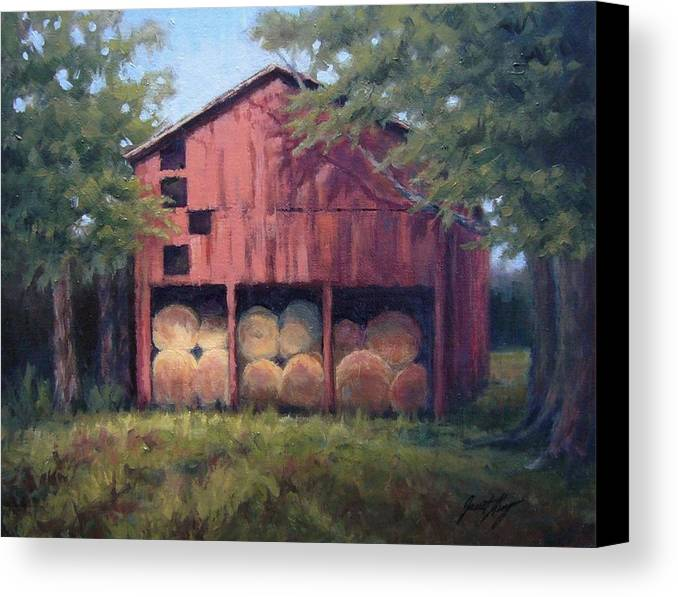 Barn Canvas Print featuring the painting Tennessee Barn With Hay Bales by Janet King