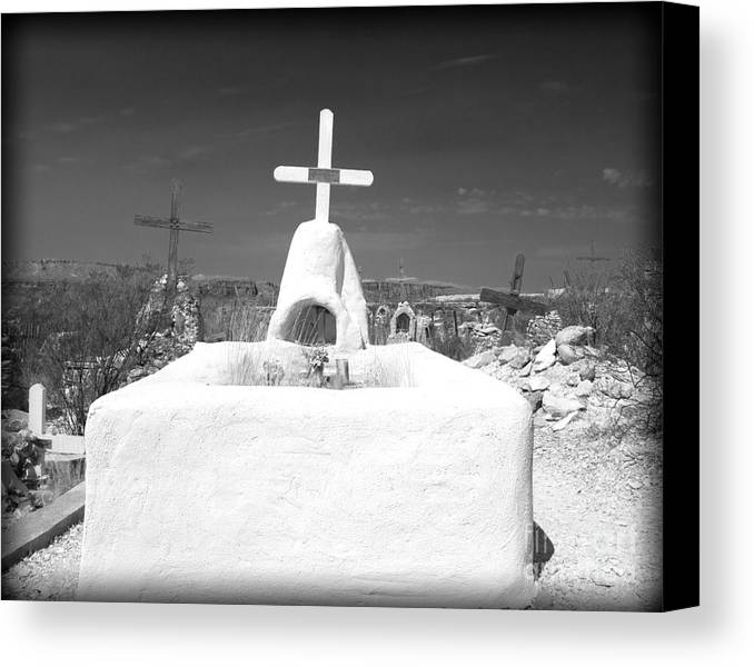 Cemetery Canvas Print featuring the photograph Terlingua Grave by Sonja Quintero