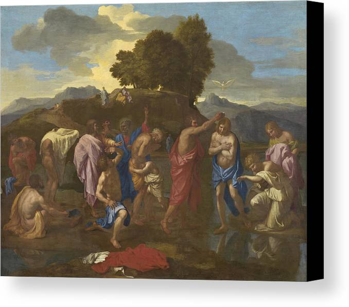 Jesus; Christ; Crucifix; Staff; St; John; Baptist; Saint; Baptising; River; Jordan; Dove; Holy; Spirit; Holy; Ghost; Baroque; Neo; Classical; Landscape Canvas Print featuring the painting The Baptism Of Christ by Nicolas Poussin