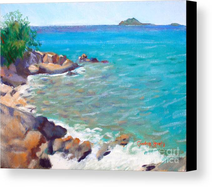 Honey Moon Beach Canvas Print featuring the painting The Cottage View by Candace Lovely