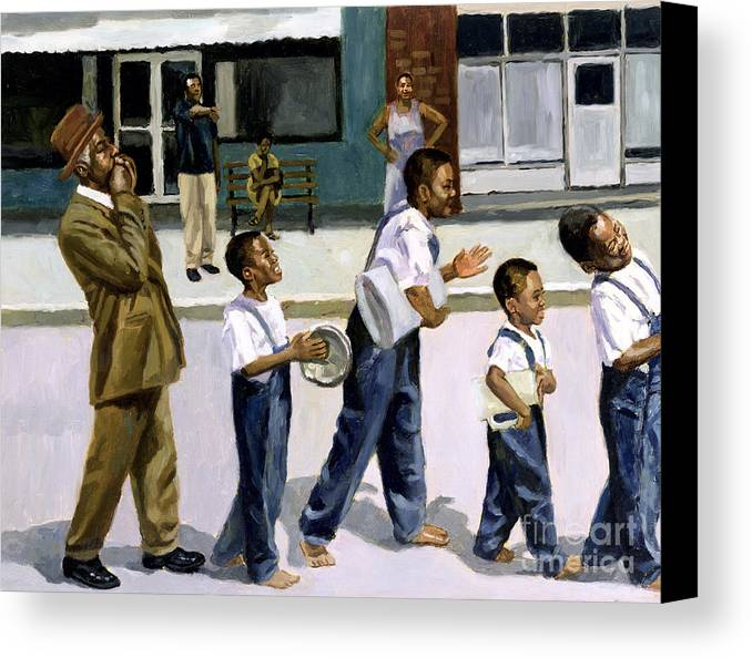 Street Canvas Print featuring the painting The Marching Band by Colin Bootman