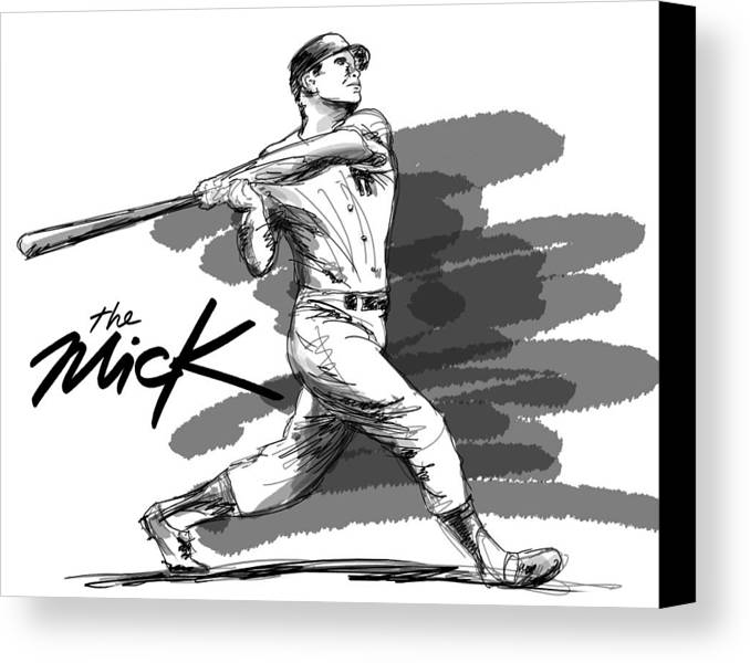 The Mick Canvas Print featuring the drawing The Mick by Ron Regalado