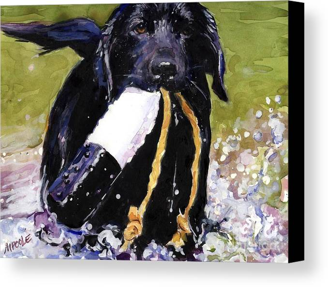 Black Lab Puppy Canvas Print featuring the painting The Ropes by Molly Poole