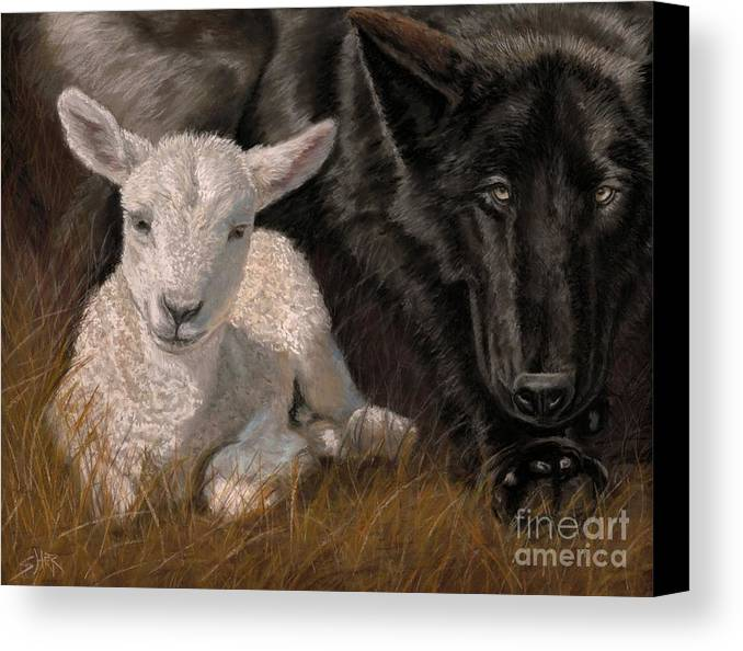 Isaiah Canvas Print featuring the painting The Wolf And The Lamb by Sheri Gordon