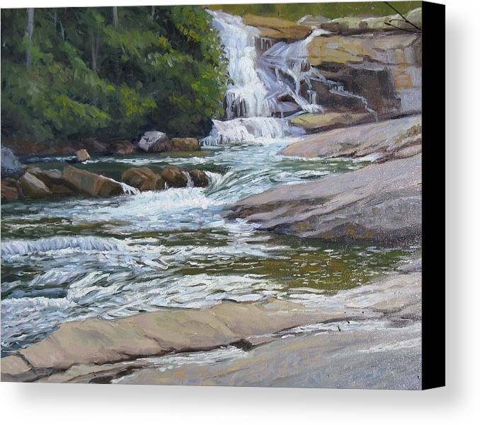 Waterfall Canvas Print featuring the painting Top Of Triple Falls by Joseph Kotowski
