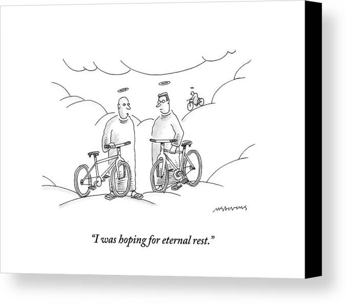 Angels Canvas Print featuring the drawing Two Angels With Bicycles Converse. Another Angel by Mick Stevens