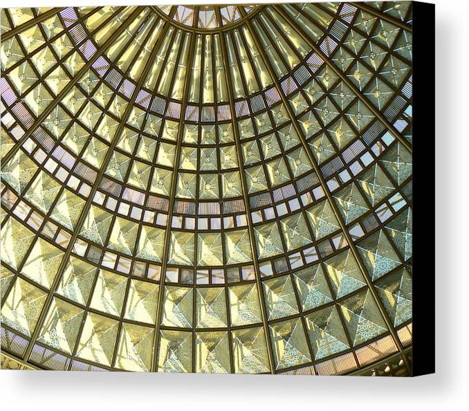 Geometric Abstract Canvas Print featuring the photograph Union Station Skylight by Karyn Robinson