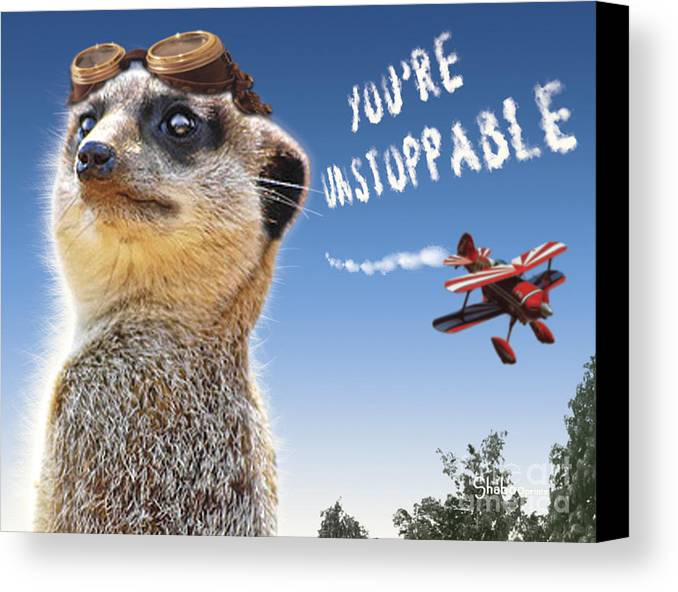 Meerkat Canvas Print featuring the digital art Unstoppable by Shaboo Prints