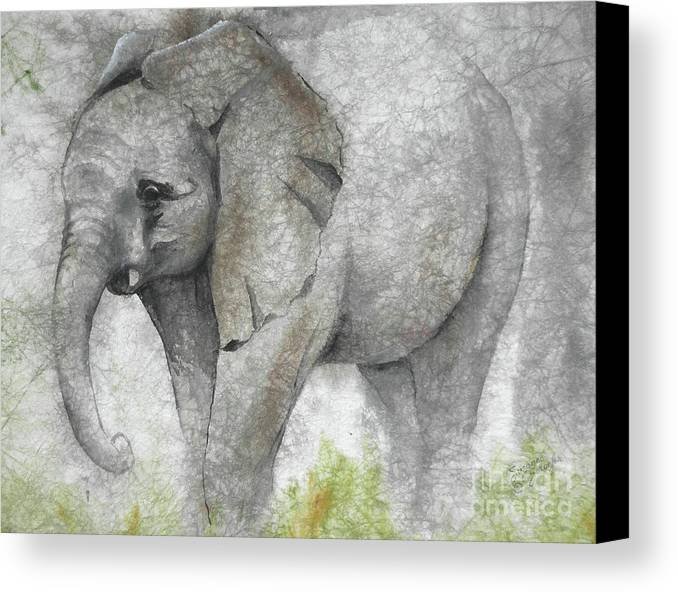 Elephant Canvas Print featuring the painting Vanishing Thunder Series-baby Elephant I by Suzanne Schaefer