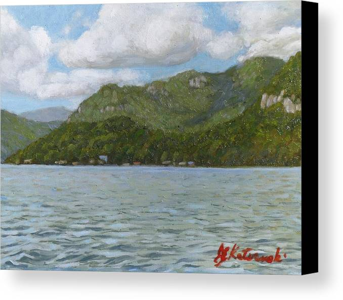 Lake Lure Canvas Print featuring the painting View On Lake Lure by Joseph Kotowski