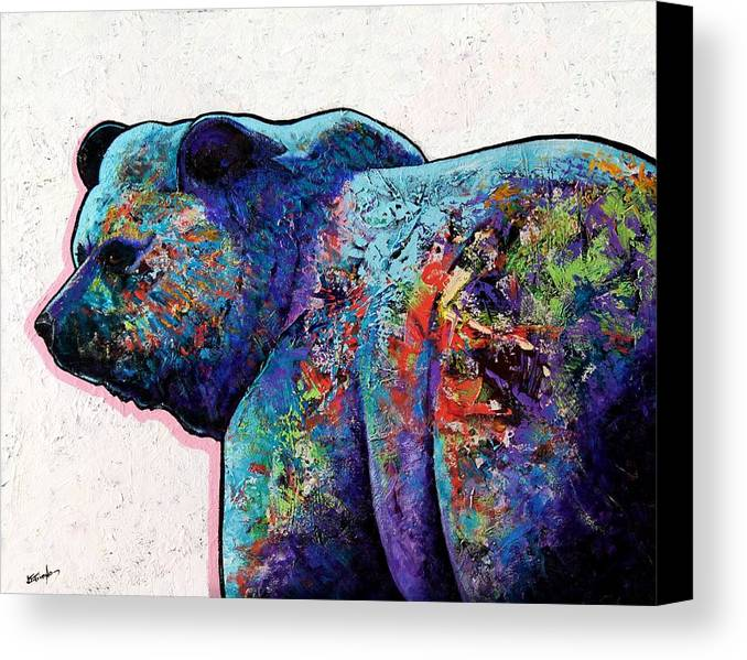 Wildlife Canvas Print featuring the painting Watchful Eyes - Grizzly Bear by Joe Triano