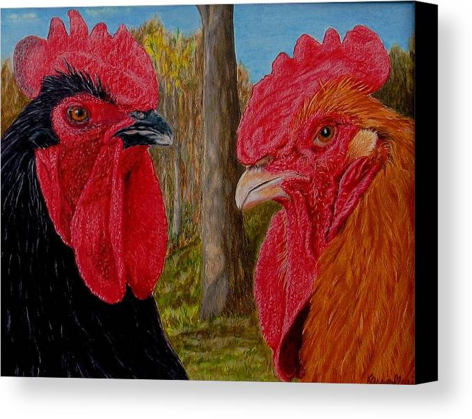 Roosters Canvas Print featuring the painting Who You Calling Chicken by Karen Ilari