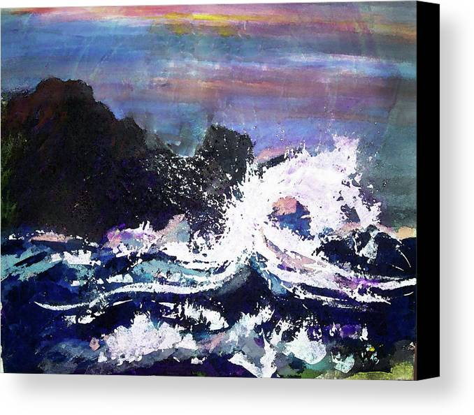 Seascape Canvas Print featuring the painting Evening Wave by Valerie Wolf