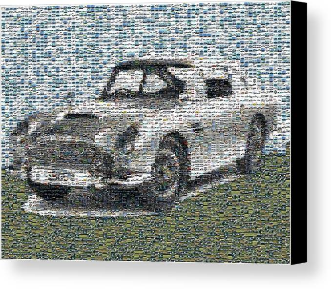 007 Canvas Print featuring the digital art 1964 Aston Martin Mosaic by Paul Van Scott