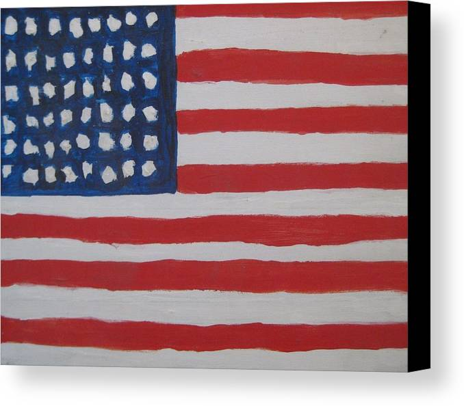 Flag Canvas Print featuring the painting Untitled by Iris Gill