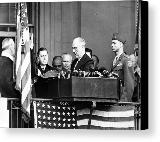 1940s Candid Canvas Print featuring the photograph President Franklin D. Roosevelt by Everett