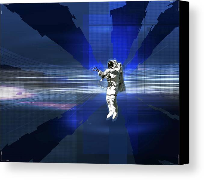 Horizontal Canvas Print featuring the digital art Astronaut In Space by Jason Reed