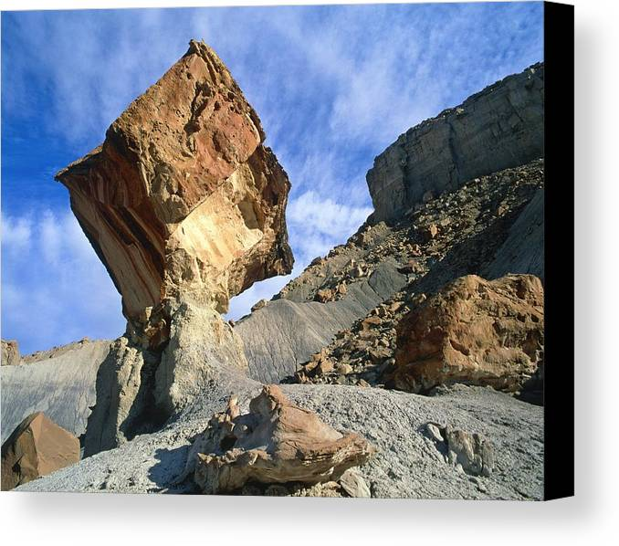 Earth Pillar Canvas Print featuring the photograph Balancing Rock Caused By Water Erosion by G. Brad Lewis