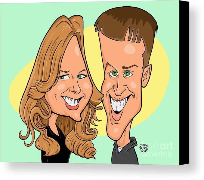 Caricature Canvas Print featuring the digital art Cindy And Jordan by Chris Berg