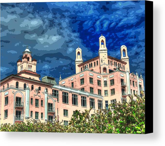 Don Cesar Canvas Print featuring the painting Don Cesar Hotel by Alan Bohms