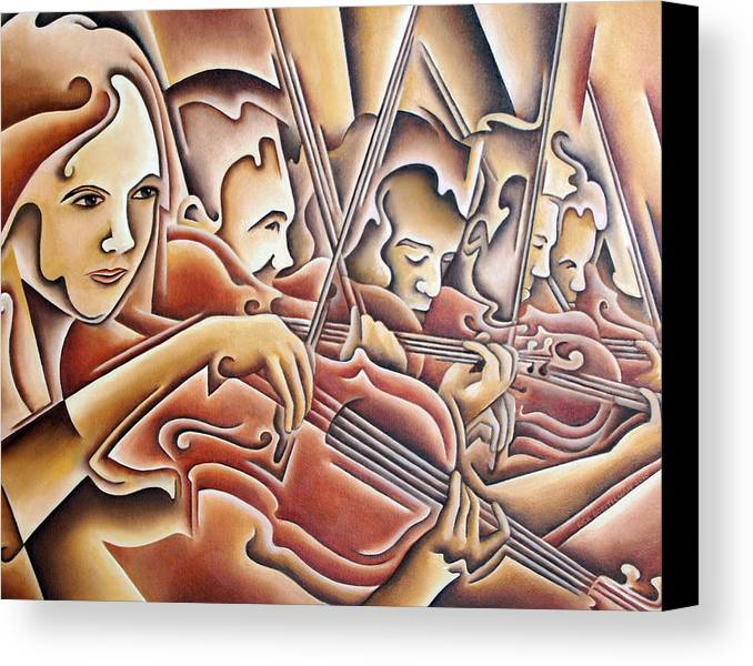 Music Canvas Print featuring the painting Five Violins by Rick Borstelman