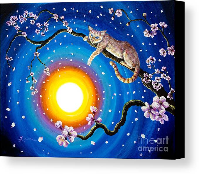 Flame Point Canvas Print featuring the painting Flame Point Siamese Cat In Cherry Blossoms by Laura Iverson