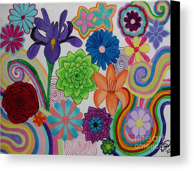 Flowers Canvas Print featuring the painting Flower Power by Dawn Plyler