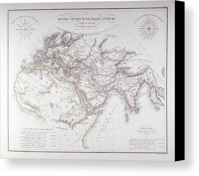 Horizontal Canvas Print featuring the digital art Historical Map Of The Known World by Fototeca Storica Nazionale
