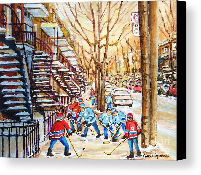 Montreal Canvas Print featuring the painting Hockey Game Near Winding Staircases by Carole Spandau
