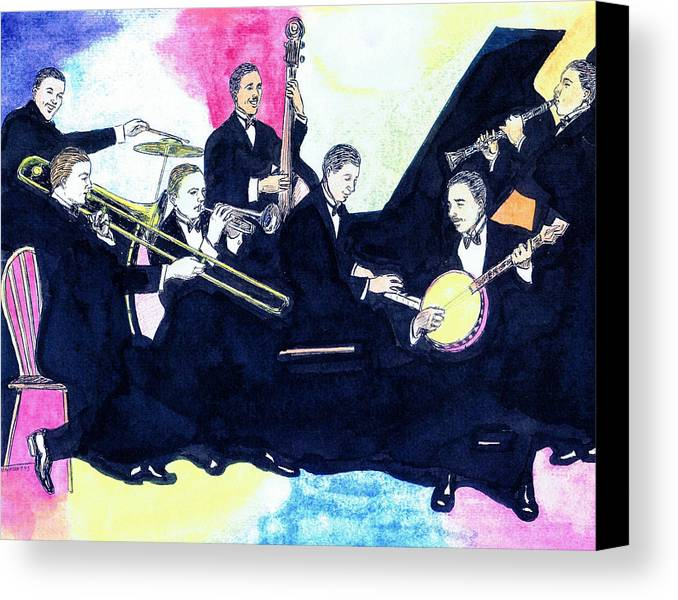 Nostalgia Canvas Print featuring the drawing Jelly Roll And The Red Hot Peppers by Mel Thompson