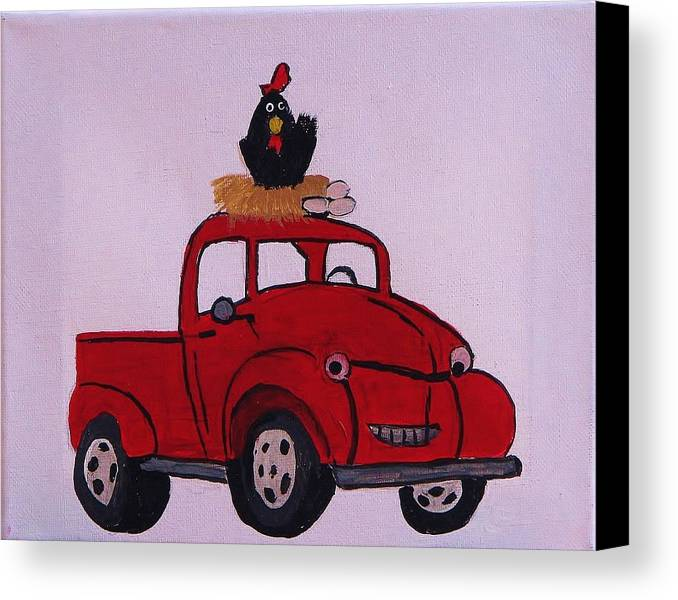Red Coop Canvas Print featuring the painting Little Red Coop by Linda Brown