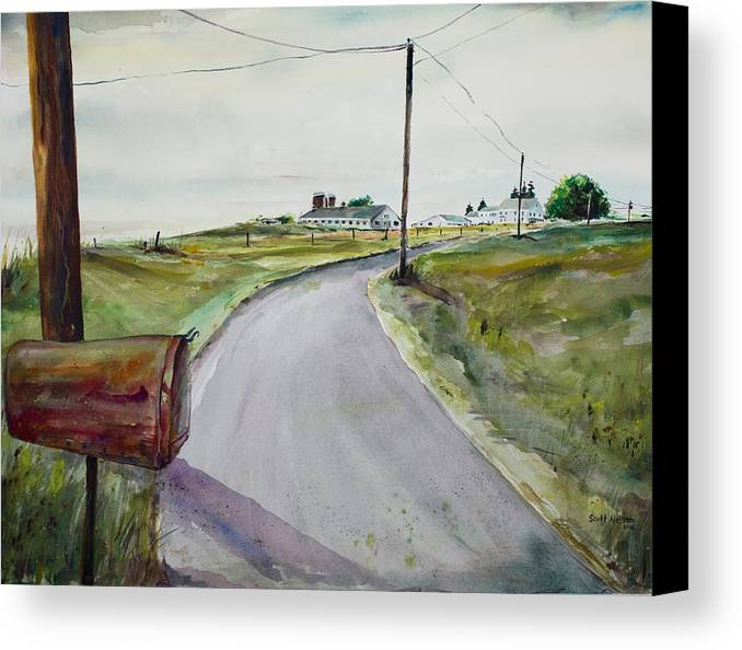 Watercolor Canvas Print featuring the painting Mail Call by Scott Nelson