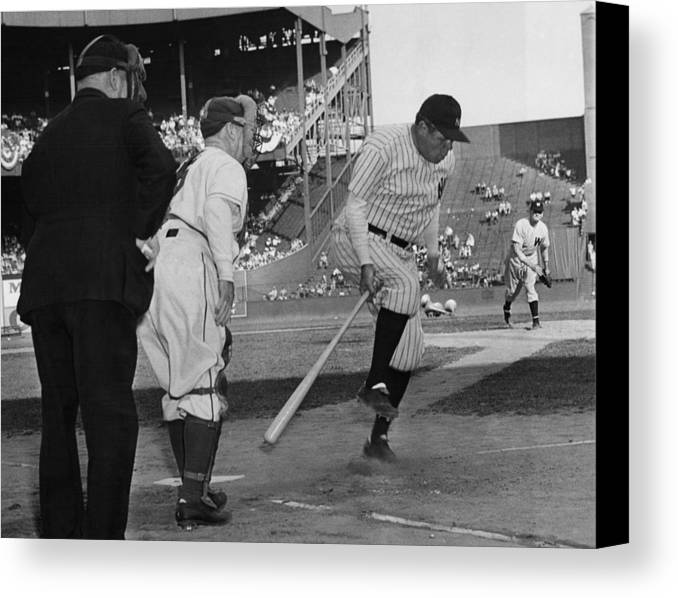 1940s Canvas Print featuring the photograph Major League Baseball. From Left Former by Everett