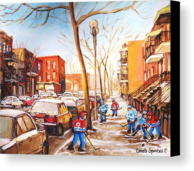 Montreal Street Scene With Boys Playing Hockey Canvas Print featuring the painting Montreal Street With Six Boys Playing Hockey by Carole Spandau