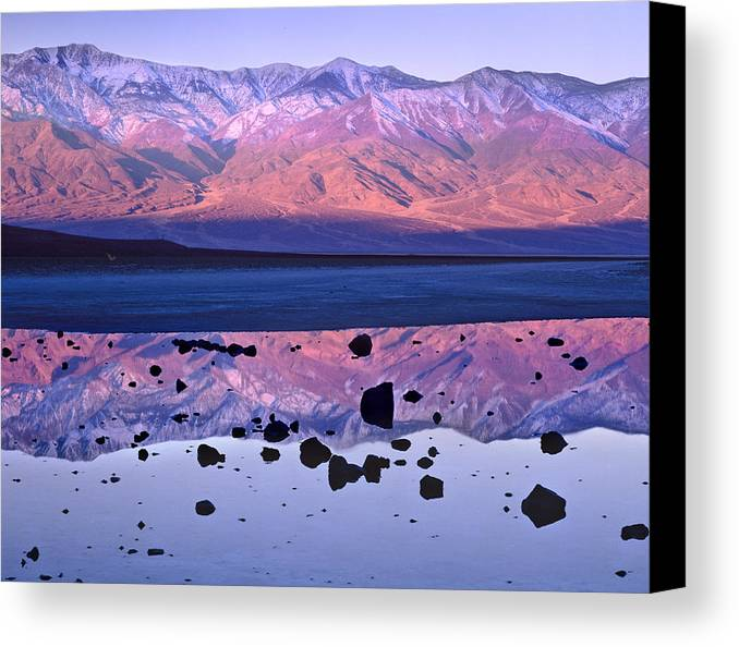 00175897 Canvas Print featuring the photograph Panamint Range Reflected In Standing by Tim Fitzharris