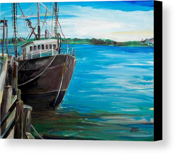 Fishing Boat Canvas Print featuring the painting Portland Harbor - Home Again by Scott Nelson