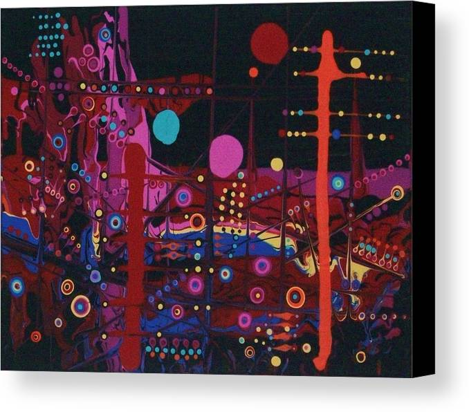 Abstract-expressionism Canvas Print featuring the painting Sometimes I Even Dream In Neon by Charlotte Nunn