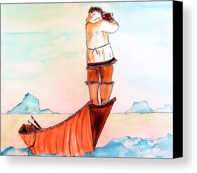 Eskimo Canvas Print featuring the painting The Eskimo Hunter by Alethea McKee
