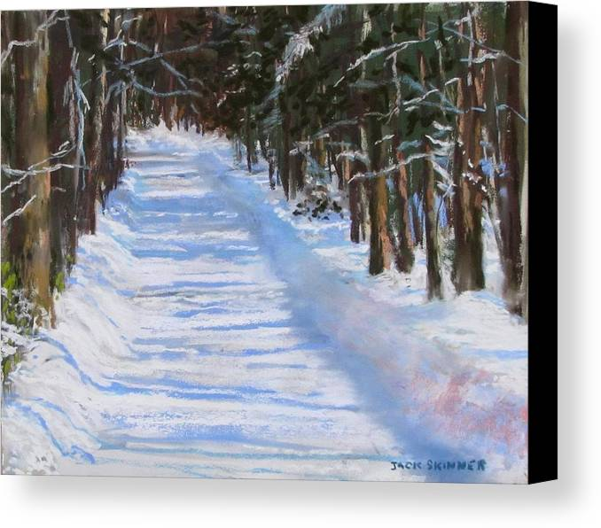 Snow Canvas Print featuring the painting The Valley Road by Jack Skinner