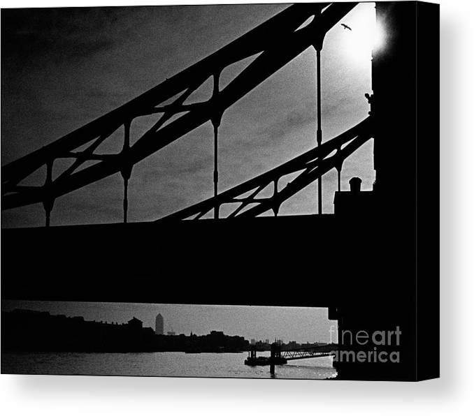 Silhouette Canvas Print featuring the photograph Tower Bridge Silhouette by Aldo Cervato