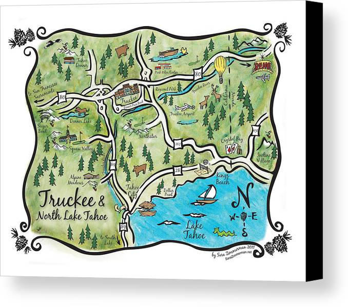 Truckee And North Lake Tahoe Map Canvas Print / Canvas Art by Sara ...