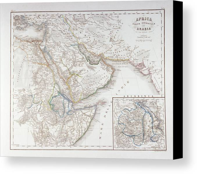 Horizontal Canvas Print featuring the digital art West Africa And Arabia by Fototeca Storica Nazionale