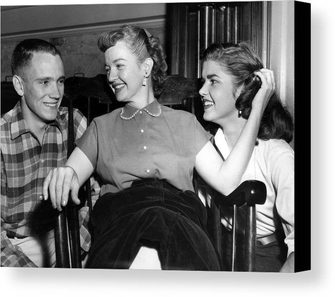 1950s Candids Canvas Print featuring the photograph William Rose Left, Fiance Of Cheryl by Everett