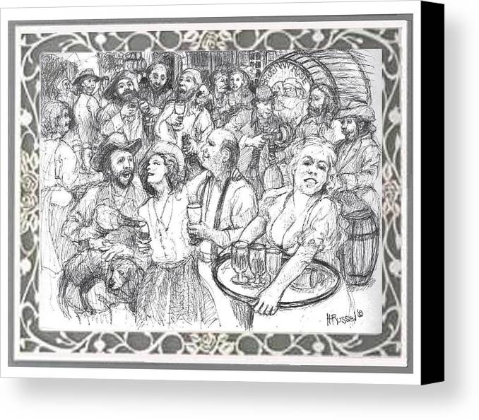 Brugman Rose Canvas Print featuring the drawing Wine Party by Herb Russel